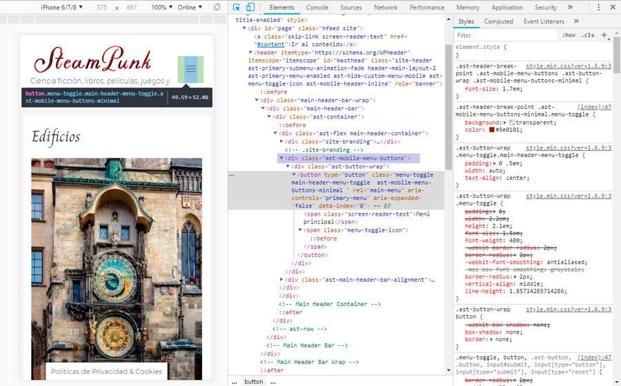Encontrar La Clase CSS Del Menu