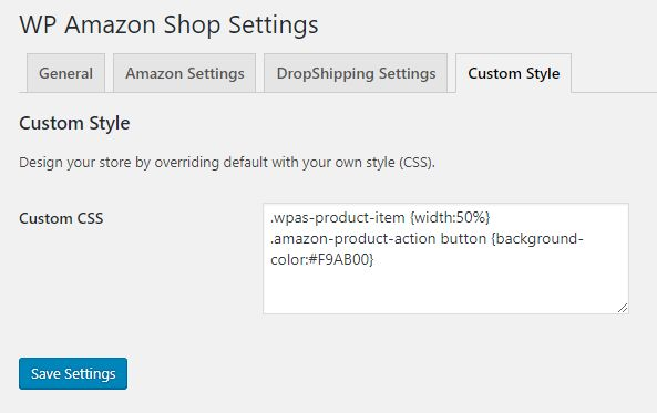 WP Amazon Shop CSS custom Style